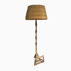 Lampada da terra in bambù con portariviste, anni '60