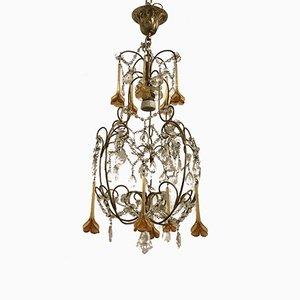 Lampadario vintage in cristallo e vetro di Murano
