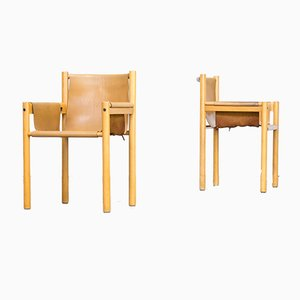 Camel Brown Leather Dining Chair from Ibisco, 1970s, Set of 2
