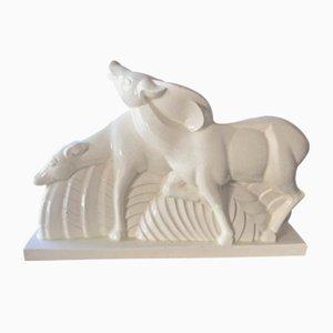 Hirschskulptur aus Keramik von Charles Lemanceau, 1930er