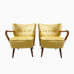 Yellow Velvet Cocktail Chair, 1960s, Set of 2