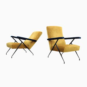 Mid-Century Italian 2-Toned Velvet Reclinable Lounge Chairs, Set of 2