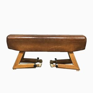 Vintage Leather Gym Horse Bench