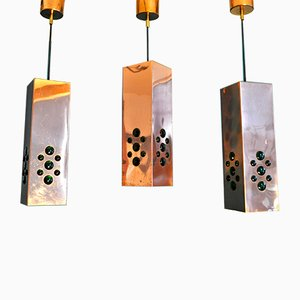 Copper & Glass Pendants by Hans Agne Jakobsson, 1950s, Set of 3