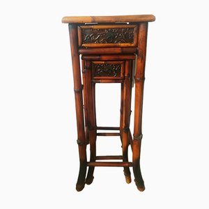 Tavolini ad incastro vintage in bambù, set di 2