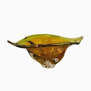 Vase in Blatt-Optik von Cenedese & Albarelli Murano für Cenedese Murano, 1970er