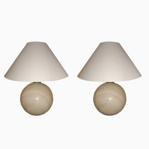 Italian Marble Lamps by Angeletti, 1970s, Set of 2