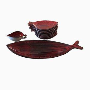 Vajilla francesa en forma de peces, años 60