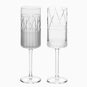 Irish Handmade Crystal No II Champagne Flutes by Scholten & Baijings for J. HILL's Standard, Set of 2