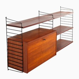Teak Modular Wall Unit and Desk by Kajsa & Nils Strinning for String, 1960s