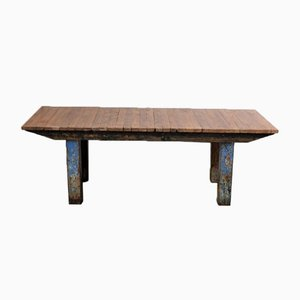 Large Vintage Industrial Walnut Table