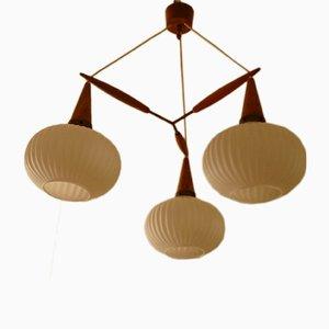 Mid-Century Teak Ceiling Lamp with Three Opaline Globes