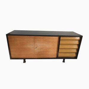 Scandinavian Wood & Black Lacquered Sideboard, 1960s