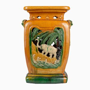 Sgabello in stile cinese in ceramica, anni '30
