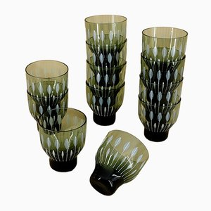Smoked Glasses from Driburg Kristall, 1960s, Set of 12