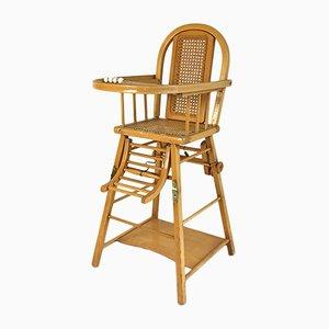 Sedia da bambino vintage in legno e canna