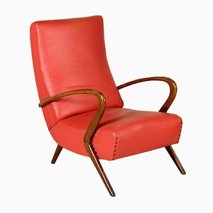 Italian Leatherette & Stained Beech Lounge Chair, 1950s