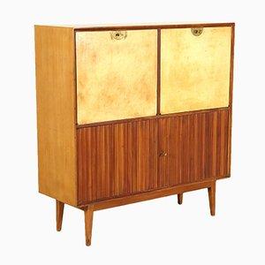 Mueble bar argentino de chapa de caoba, pergamino y latón, años 50