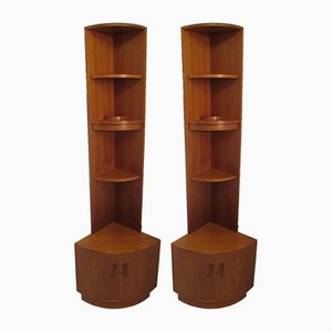 Vintage Teak Corner Shelves, Set of 2