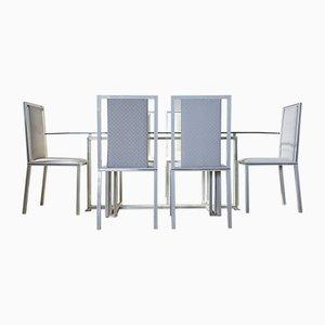 Mesa de comedor francesa vintage y seis sillas de Pierre Vandel, años 70