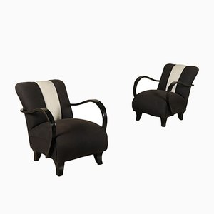 Italian Lacquered Wood Lounge Chairs, 1940s, Set of 2