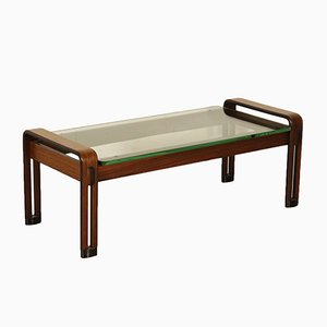 Italian Rosewood Coffee Table with Glass Top, 1960s