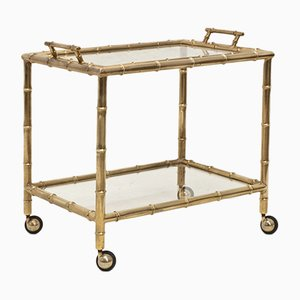Italian Faux Bamboo Bar Cart with Removable Tray, 1970s