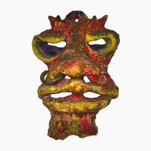 Bemalte Terrakotta Maske von Angelo Meani, 1950er