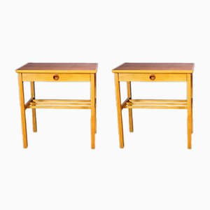 Swedish Teak and Oak Bedside Tables, 1970s, Set of 2