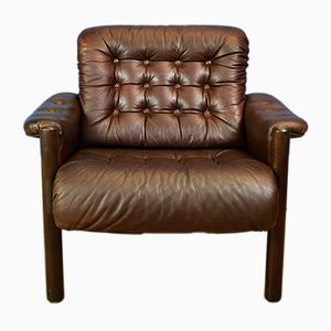 Swedish Brown Leather Lounge Armchair from Göte Möbler, 1970s