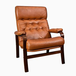 Danish Tan Leather Bentwood Lounge Chair