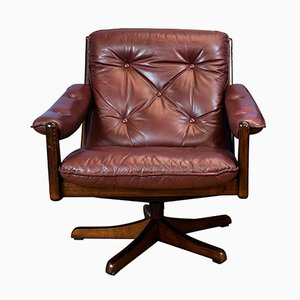 Norwegian Cognac Leather Swivel Lounge Chair from Soda Galvano, 1970s