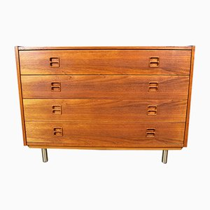 Danish Teak and Metal Chest of Drawers, 1970s