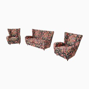 Italian Floral Fabric Living Room Set with Wooden Legs by Paolo Buffa, 1950s