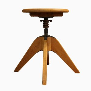 Vintage Wooden Swivel Stool from Stoll Federdreh, 1960s