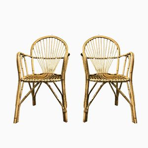 Mid-Century Bamboo Occasional Chairs, Set of 2