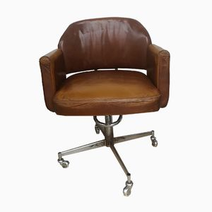 Mid-Century Brown Leather Armchair
