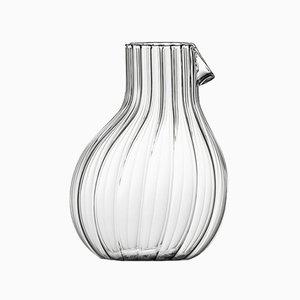 Jarra baja Dodò de vidrio estriado transparente de Matteo Cibic para Paola C., 2018
