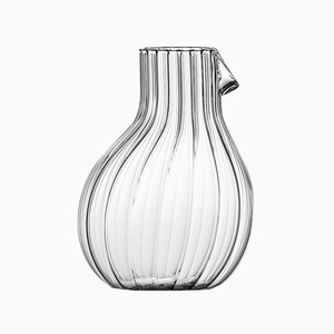 Low Dodò Carafe in Transparent Fluted Clear Glass by Matteo Cibic for Paola C., 2018