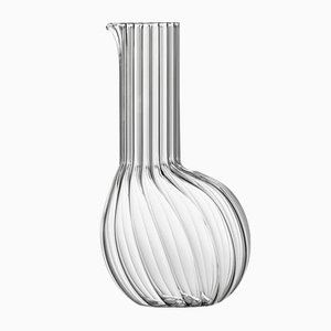 Dudù High Carafe in Transparent Fluted Blown Glass by Matteo Cibic for Paola C., 2018