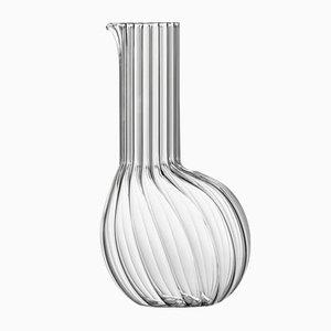 Hohe Dudù Karaffe aus durchsichtigem gerilltem geblasenem Glas von Matteo Cibic für Paola C., 2018