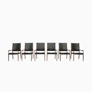 MK 72 Chairs aus Palisander & Leder von Johannes Andersen, 1960er, 6er Set