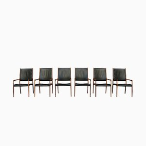 Rosewood & Leather MK 72 Chairs by Johannes Andersen, 1960s, Set of 6