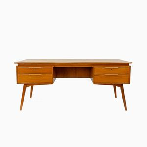 Dutch Curved Beech Desk by A. A. Patijn for Zijlstra Joure, 1950s