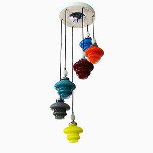Lámpara de araña Incamiciato de vidrio con seis luces de Stilnovo, años 50