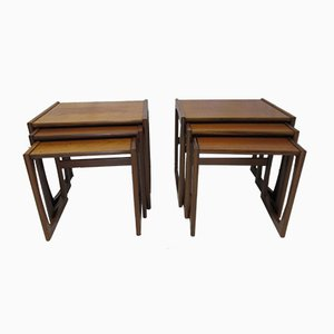 Tables Gigognes Vintage en Teck, Set de 2
