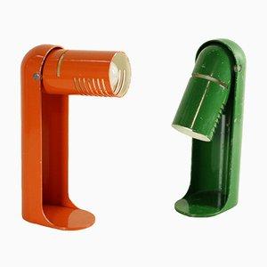Italienische Flip Top Tischlampen aus lackiertem Metall von Richard Caruthers für Leuka, 1970er, 2er Set