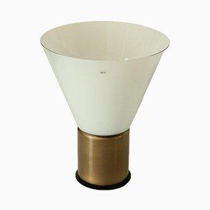 Lámpara de mesa italiana de metal y vidrio soplado de Alfredo Barbini, años 80