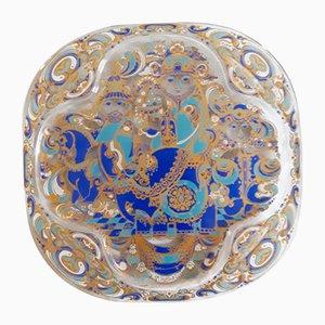 Piatto decorativo vintage in vetro di Bjørn Wiinblad per Rosenthal