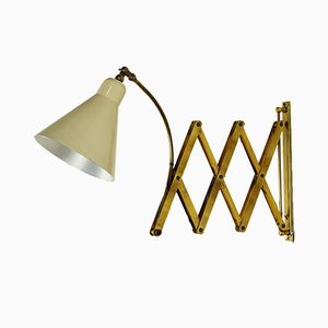 Italian Extendable Aluminum & Brass Lacquered Wall Lamp, 1950s